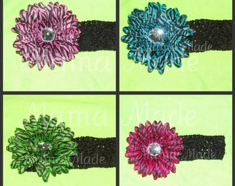 One Zebra Flower Headband, Zebra Daisy Headband, Flower Headband, Hot Pink Zebra flower headband,lime green zebra flower, daisy flower