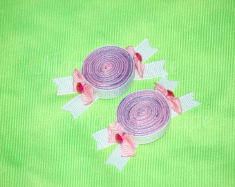 Pink and Light Purple Hair Candy Set candy ribbon sculptures candy bow candy hair clip pink and purple candy hairclip sweet shoppe birthday