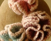 Ruffled Flower Pin, Crocheted and Felted