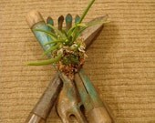 """Mini """"Lady of the Night"""" Orchid - mounted on vintage garden tools"""