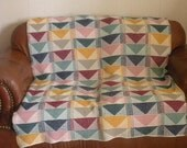 Flying Geese Afghan-knitted
