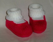 Dark Pink and White Booties-3-6 mo.