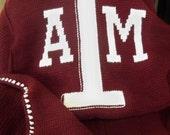 Texas A&M Crocheted Afghan-Maroon w/White Trim