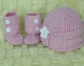 Booties and Hat Set-0-6 mo.