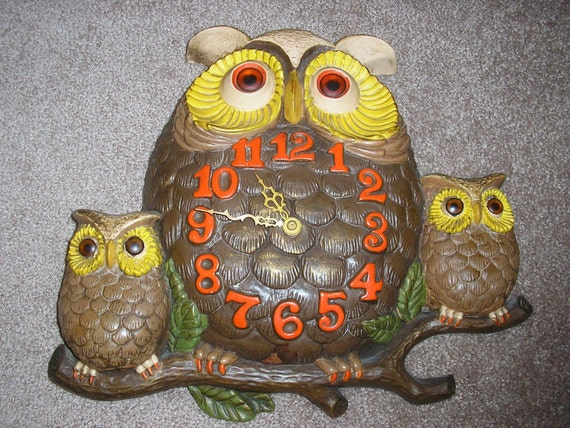 1974 Arnel's Vintage Kitchey Owl Wall Clock