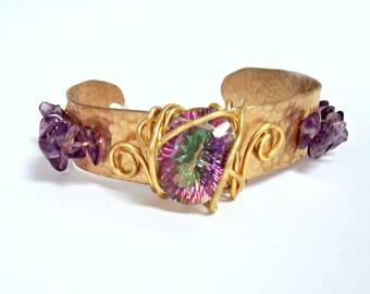 Cufftastic-Mystic Topaz Hammered Brass Amethyst Cuff Bracelet