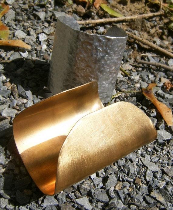 Wide Gold Cuff Bracelet- Smooth Satin Finish Brass -Class Act Cuff Bracelet