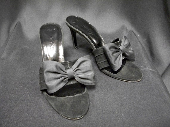 Vintage Zalo Black Suede High Heel Mules with Bow Size 6M