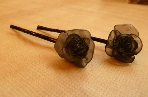 Pair of Acrylic Black Flower Hair Pins