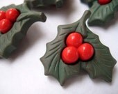Set of 4 Holly buttons for your Christmas outfit or craft project