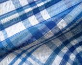 Vintage Table Cloth or Fabric for repurposing BLUE Cotton seersucker plaid