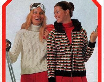 70s Vintage Knit & Crochet booklet Patons 946 Retro Ski Designs Pattern Book Paper Pattern ORIGINALS NOT PDF