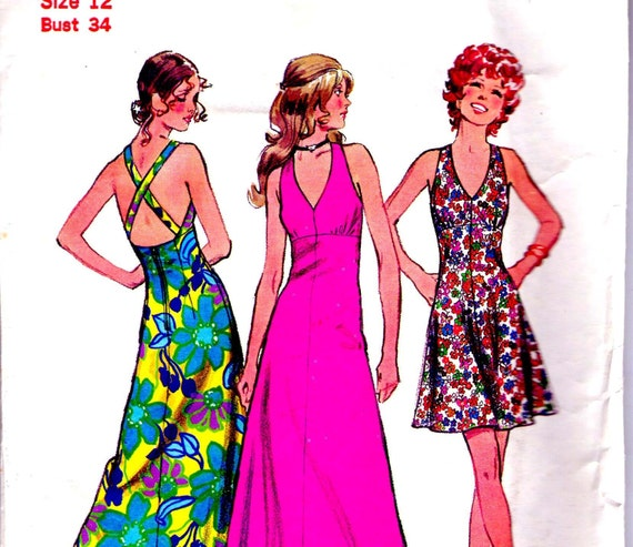 70s Vintage Sewing Pattern Simplicity 5037 Halter Maxi or Short summer dress Size 12  Bust 34