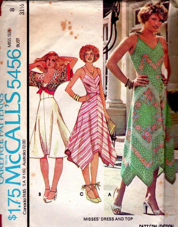 Vintage 1970s Sewing Pattern Handkerchief Dress & tie top Size 8 Bust 31 1/2