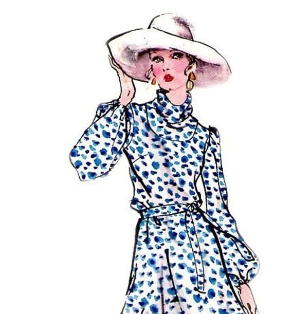1970s Vintage Vogue 7959 Pattern Cowl neck dress Size 10 Bust 32 1/2