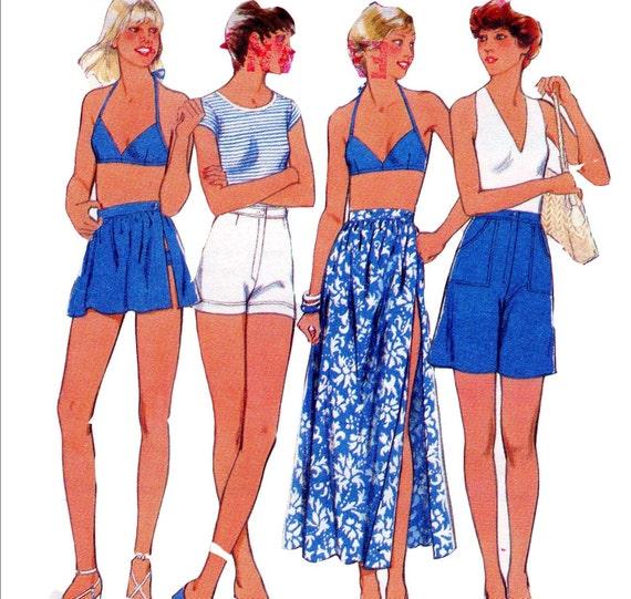 70s Vintage Sewing Pattern Style 1961 Bikini, Wrap Skirt & Shorts Size 14 Bust 36