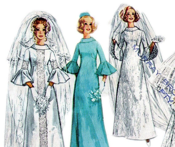 70s Vintage Boho Bridal Gowns Pattern Size 12 Bust 34