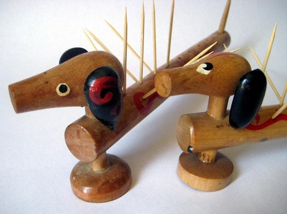 Vintage toothpick holders wooden dachshund weiner dogs doxies - Wooden pocket toothpick holder ...
