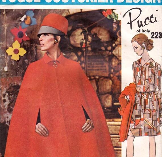 Sz 10 60s Vogue Couturier Design Sewing Pattern 2231 Dress & Cape by Pucci Size 10 Bust 32 1/2 UNCUT FF