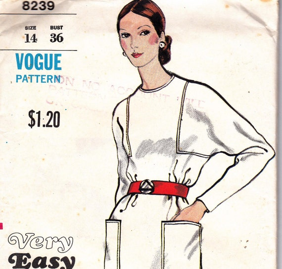 70s Vintage Sewing Pattern Vogue 8239  Bat wing Dress Size 14 Bust 36 UNCUT FF