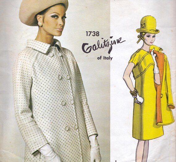 60s Galitzine A Line Dress & Coat Vintage Vogue Couturier Sewing Pattern 1738 Size 14 Bust 34