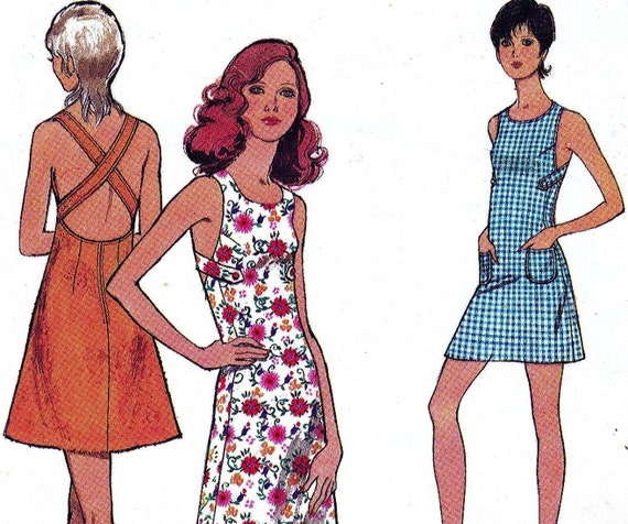 70s Vintage Sewing Pattern Style 3587 Summer Dress with Crossover Back Size 14 Bust 36