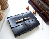 Handmade Journal A6 - Black leather - white paper