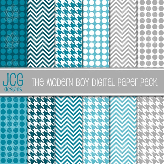Digital Scrapbooking Paper - The Modern Boy - Chevrons, Houndstooth, and Dots