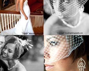 SALE ONLY TODAY- Elegent 'birdcage veil' blusher 12''' ivory or white