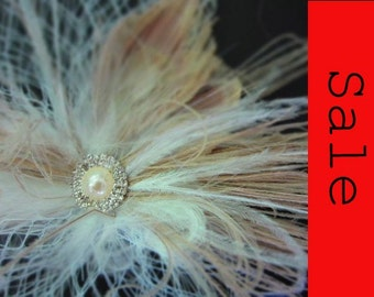 Champaign Feather fascinator for birdcage veil