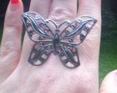 Gun metal butterfly ring