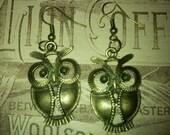 Brass dangle hoot owl earrings