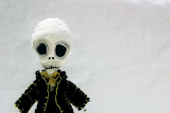 RESERVED FOR ALLISON Ooak Spun Cotton Dia de los Muertos Skeleton Art Doll in Tweed Suit Spooky