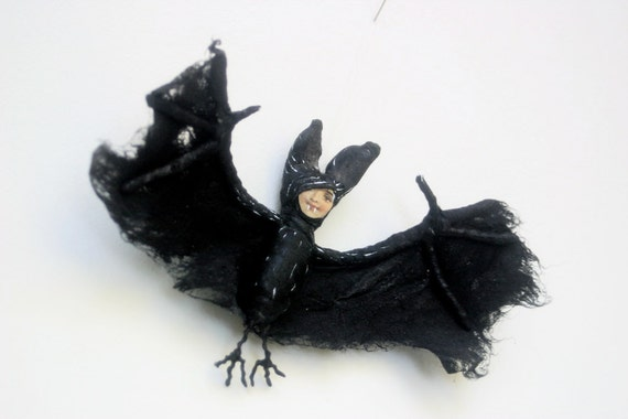 Ooak, Spun Cotton, Goth, Spooky, Vampire, Bat, Halloween, Ornament