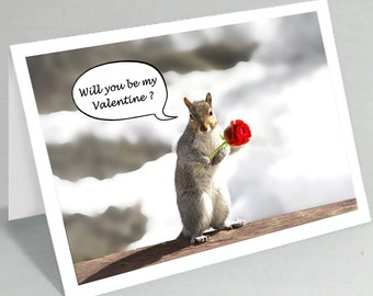 Valentine card Valentine's Day card - Will you be my valentine squirrel greeting card - Cute card funny card (Blank inside)