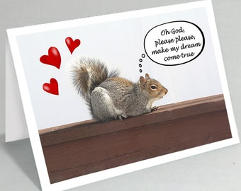 Valentine card Valentine's Day card Make my dream come true funny squirrel card Funny Valentine card Cute animal card