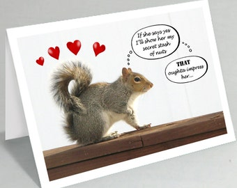 Funny squirrel greeting card funny cards Valentine's Day card Will you marry me Will you go to prom with me invite (Blank inside)