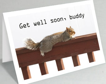 Get Well Soon card - Feel better soon card squirrel greeting card - Cute card funny card (Blank inside)