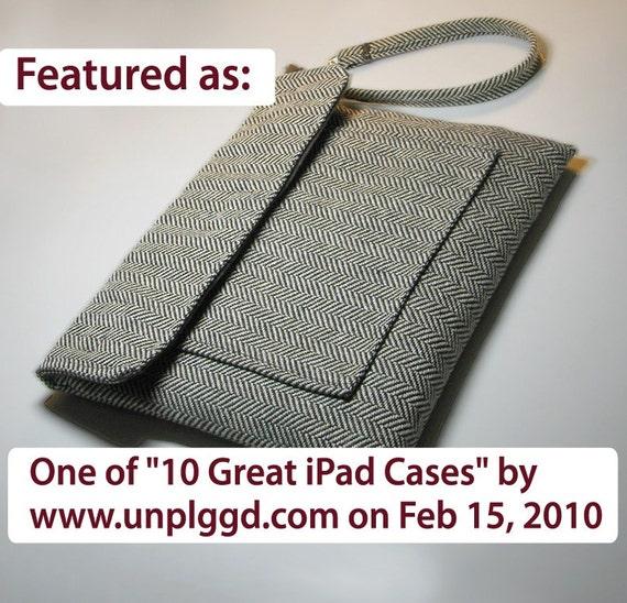 Apple iPad sleeve case - Handmade unisex manly carrying case herringbone fabric pa503