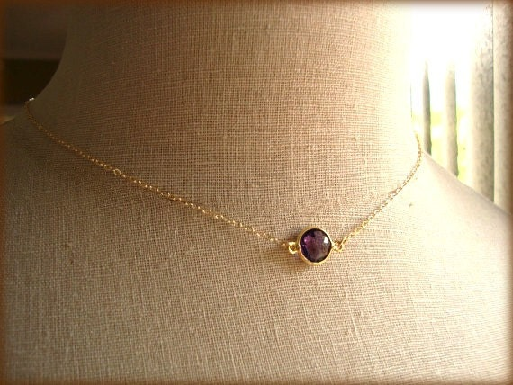 mon amie - amethyst bezel necklace - simple gemstone jewelry