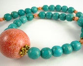 Turquoise Necklace Turquoise Coral and Gold Gemstone Necklace