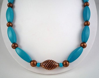 Turquoise Necklace Gemstone Necklace Turquoise Copper Necklace Copper Turquoise Necklace Blue Turquoise Strand Turquoise Bead Necklace