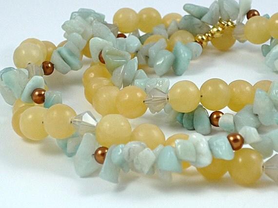 Gemstone Necklace Pale Blue Amazonite Necklace Pale Yellow Aragonite Necklace Light Yellow Blue Gemstone Necklace Double Strand Necklace