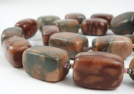 Gemstone Necklace Gray Mauve Brown Canyon Marble Statement Necklace
