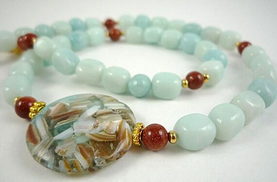 Gemstone Necklace Amazonite Necklace Pale Blue Amazonite Brown Goldstone Beaded Necklace