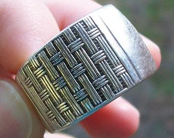 Vintage Sterling Plated Spoon Ring Basket Weave Design