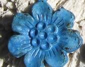 blue flower , SAKURA flower jewelry charm pendant ,  blue patina  4 pcs