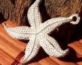 Starfish pendant , shabby white patina -- 2 pcs,  star fish pendant