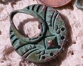 CLEOPATRA's hoop ,  verdigris patina charm 2pcs