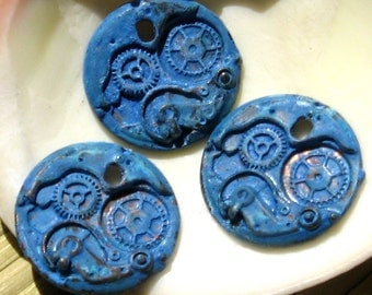WATCH WORKS steampunk composite GEAR charm - blue patina 1 pc